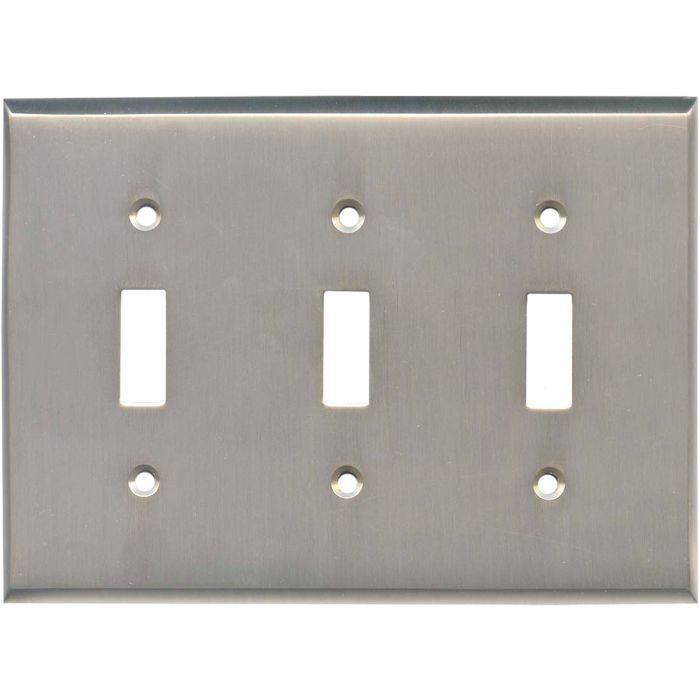 Satin Nickel Triple 3 Toggle Light Switch Covers
