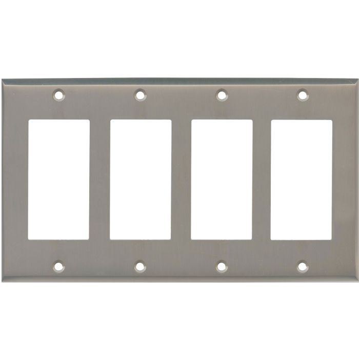 Satin Nickel 4 Rocker GFCI Decorator Switch Plates