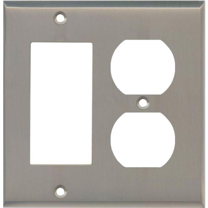 Satin Nickel Combination GFCI Rocker / Duplex Outlet Wall Plates
