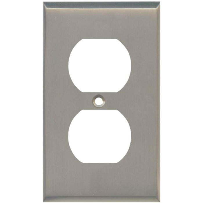 Satin Nickel 1 Gang Duplex Outlet Cover Wall Plate