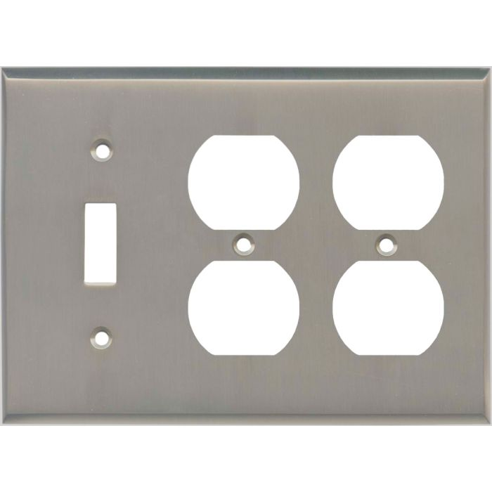 Satin Nickel - 1 Toggle/2 Duplex Outlet Wall Plates