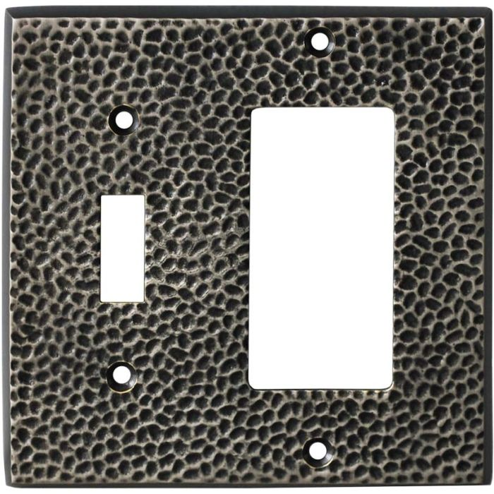 Sc Hammered Antique Pewter - Combination 1 Toggle/Rocker Switch Covers