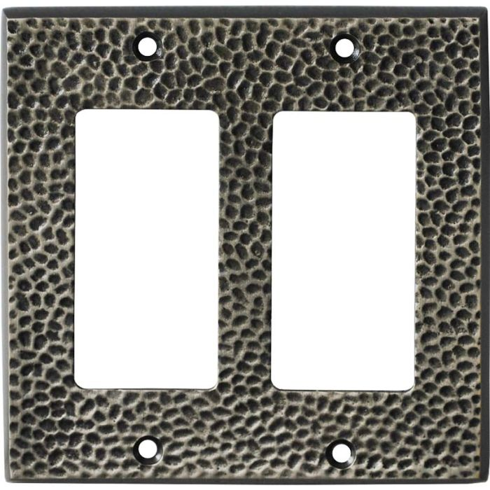 SC Hammered Antique Pewter 2 Gang Double GFCI Rocker Decorator Wallplates