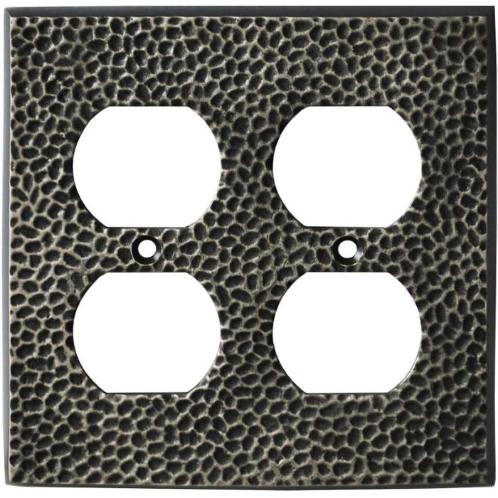 Sc Hammered Antique Pewter - 2 Gang Electrical Outlet Covers