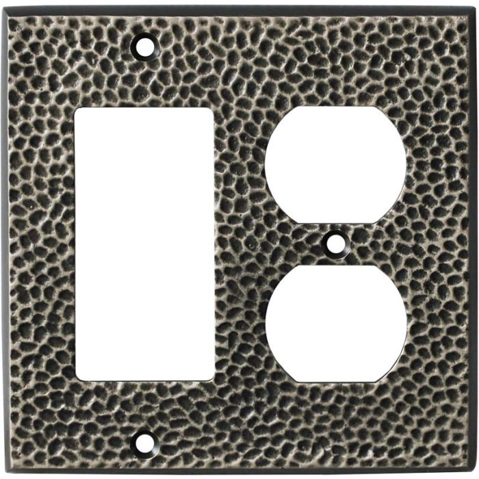 SC Hammered Antique Pewter 3-Toggle / 1-Duplex - Combination Wall Plates