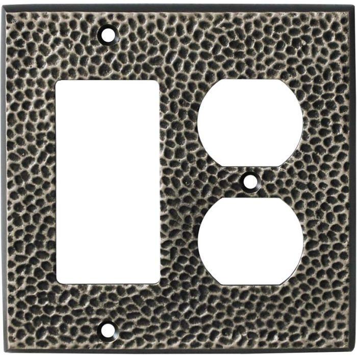 Sc Hammered Antique Pewter - GFCI Rocker/Duplex Outlet Wall Plates