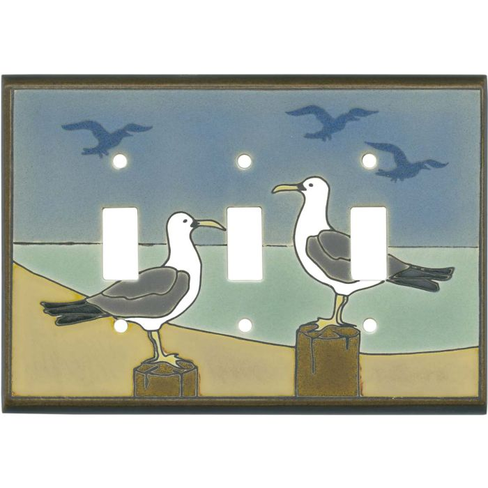 Seagull Ceramic Triple 3 Toggle Light Switch Covers