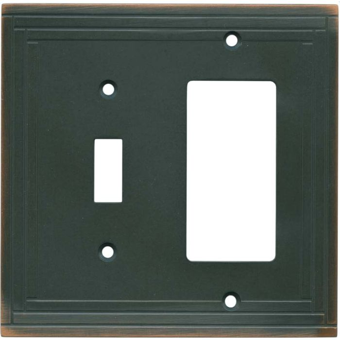 Brainerd Selby Oil Rubbed Bronze 1 Toggle Wall Switch Plate - GFI Rocker Cover Combo
