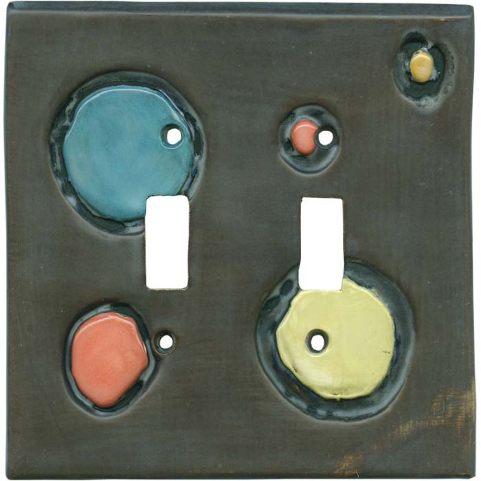 Shiny Stones Espresso Double 2 Toggle Switch Plate Covers
