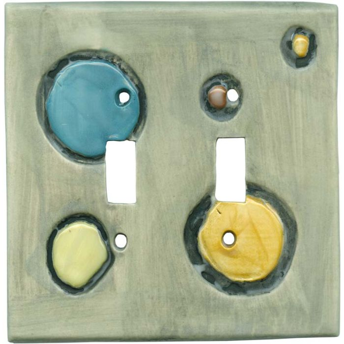 Shiny Stones Pewter Double 2 Toggle Switch Plate Covers