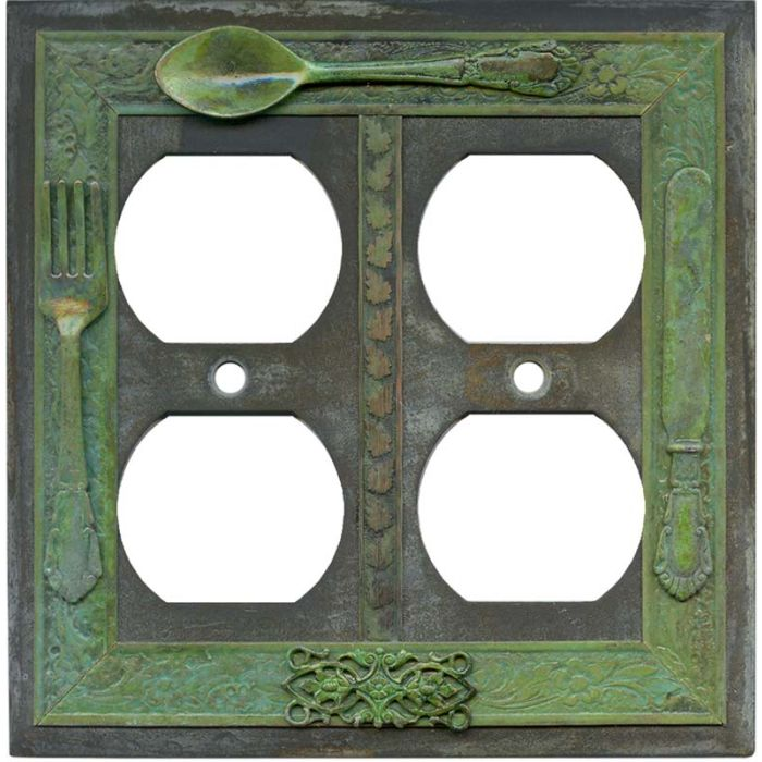 Silverware 2 Gang Duplex Outlet Wall Plate Cover
