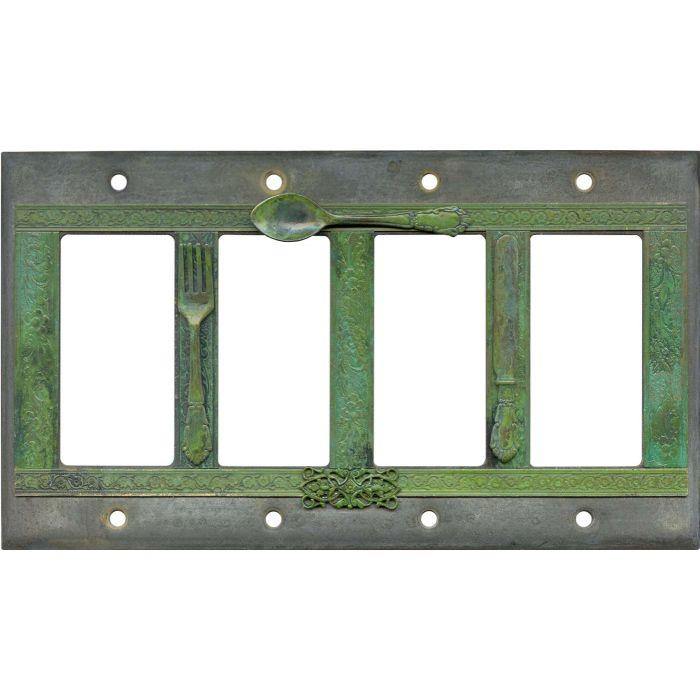 Silverware 4 Rocker GFCI Decorator Switch Plates