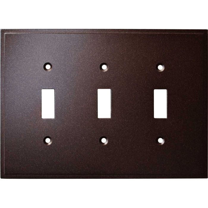 Simple Step Cocoa Bronze Triple 3 Toggle Light Switch Covers