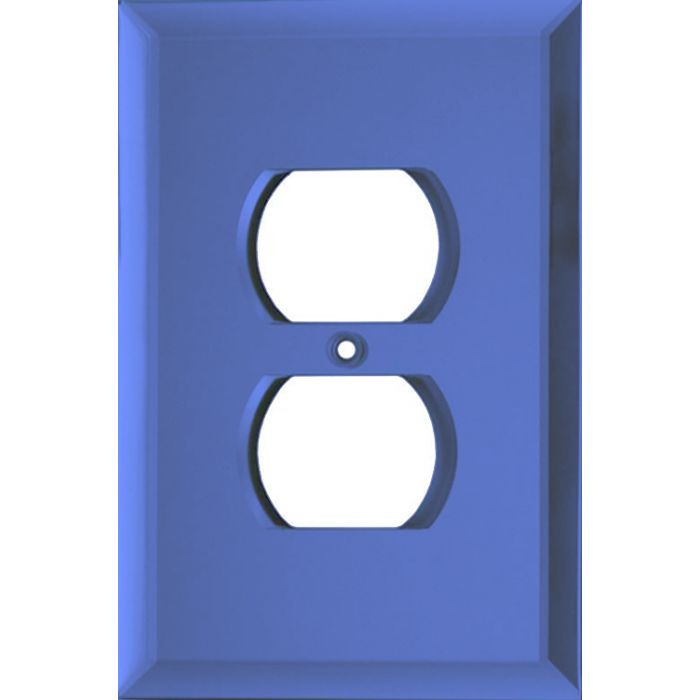 Glass Mirror Sky Blue 1 Gang Duplex Outlet Cover Wall Plate