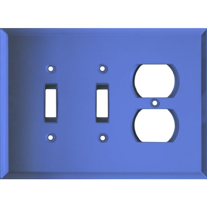 Glass Mirror Sky Blue Double 2 Toggle / Outlet Combination Wall Plates