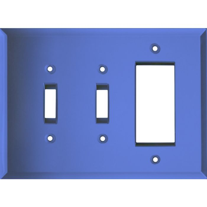 Glass Mirror Sky Blue Double 2 Toggle / 1 GFCI Rocker Combo Switchplates