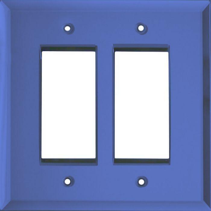 Glass Mirror Sky Blue 2 Gang Double GFCI Rocker Decorator Wallplates