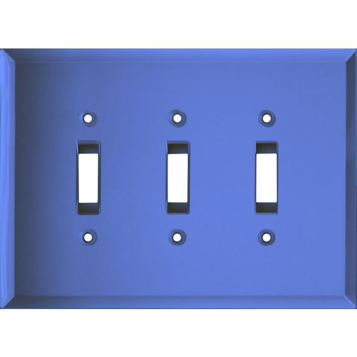Glass Mirror Sky Blue Triple 3 Toggle Light Switch Covers