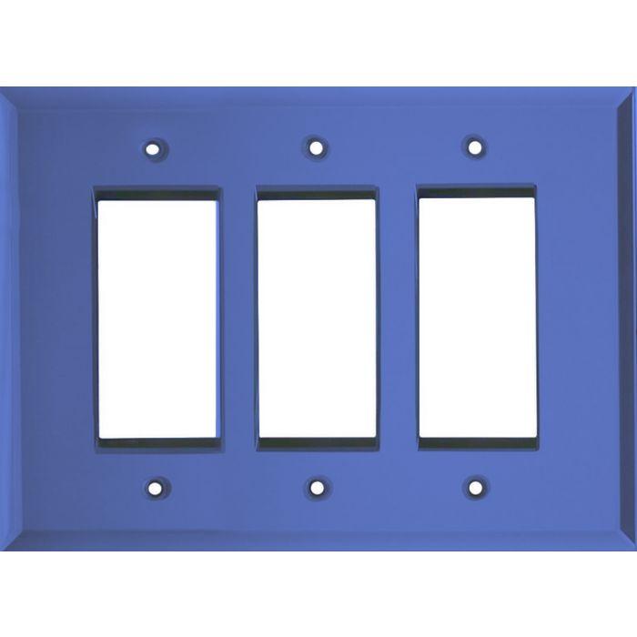 Glass Mirror Sky Blue Triple 3 Rocker GFCI Decora Light Switch Covers
