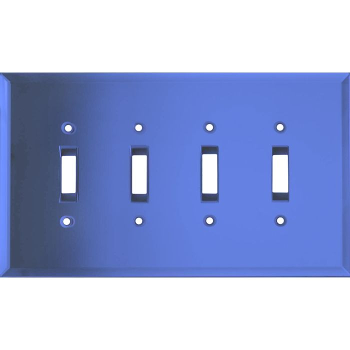 Glass Mirror Sky Blue Quad 4 Toggle Light Switch Covers