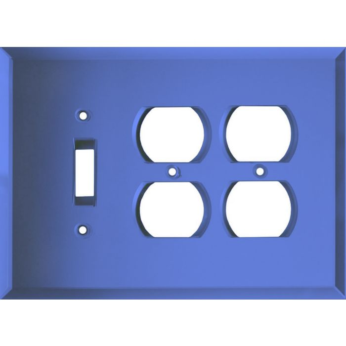 Glass Mirror Sky Blue Combintion Single 1 Toggle / Double 2 Outlet Wall Plates