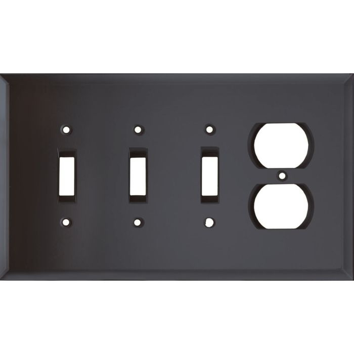 Glass Mirror Smoke Grey Combination Triple 3 Toggle / Outlet Wall Plate Covers