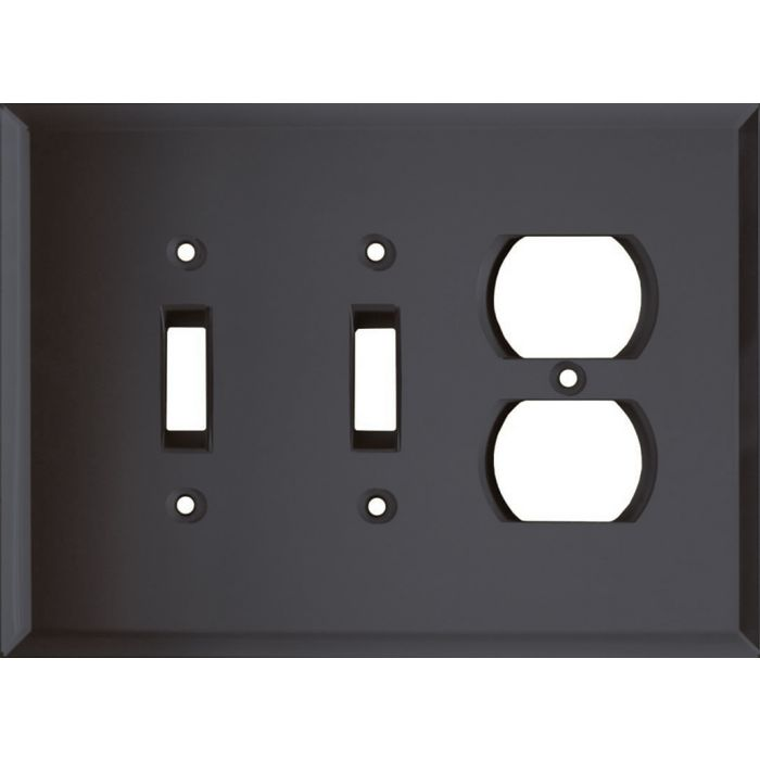 Glass Mirror Smoke Grey Double 2 Toggle / Outlet Combination Wall Plates