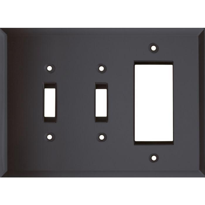Glass Mirror Smoke Grey Double 2 Toggle / 1 GFCI Rocker Combo Switchplates