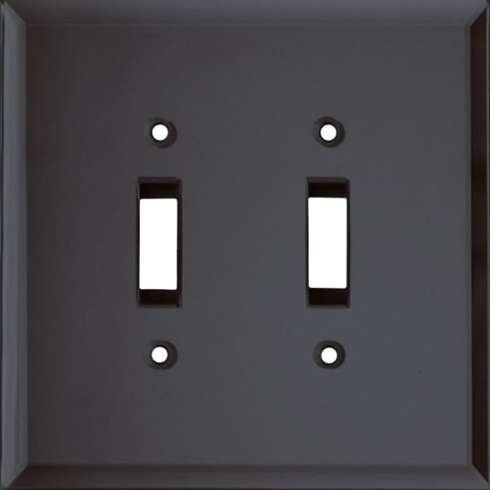 Glass Mirror Smoke Grey Double 2 Toggle Switch Plate Covers