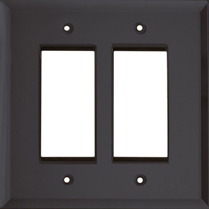 Glass Mirror Smoke Grey 2 Gang Double GFCI Rocker Decorator Wallplates