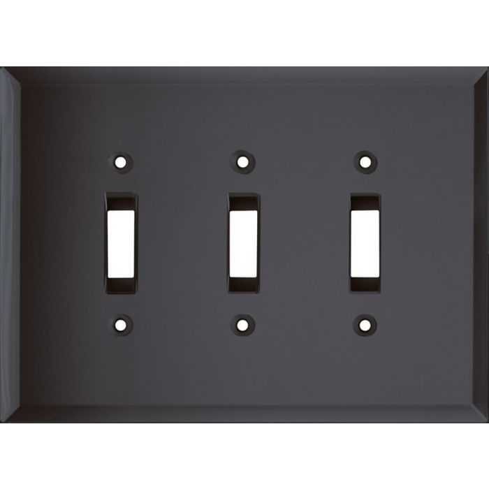 Glass Mirror Smoke Grey Triple 3 Toggle Light Switch Covers