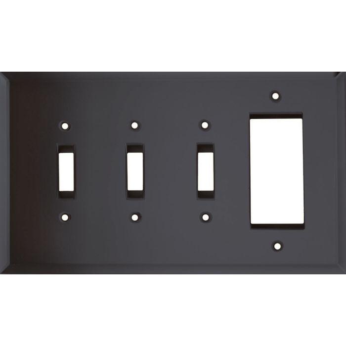 Glass Mirror Smoke Grey Triple 3 Toggle / 1 Rocker GFCI Switch Covers