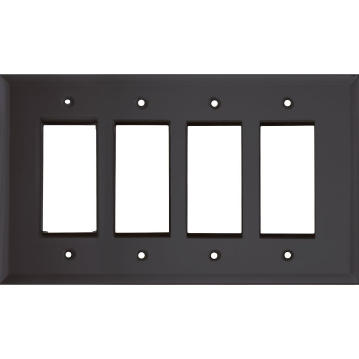 Glass Mirror Smoke Grey 4 Rocker GFCI Decorator Switch Plates