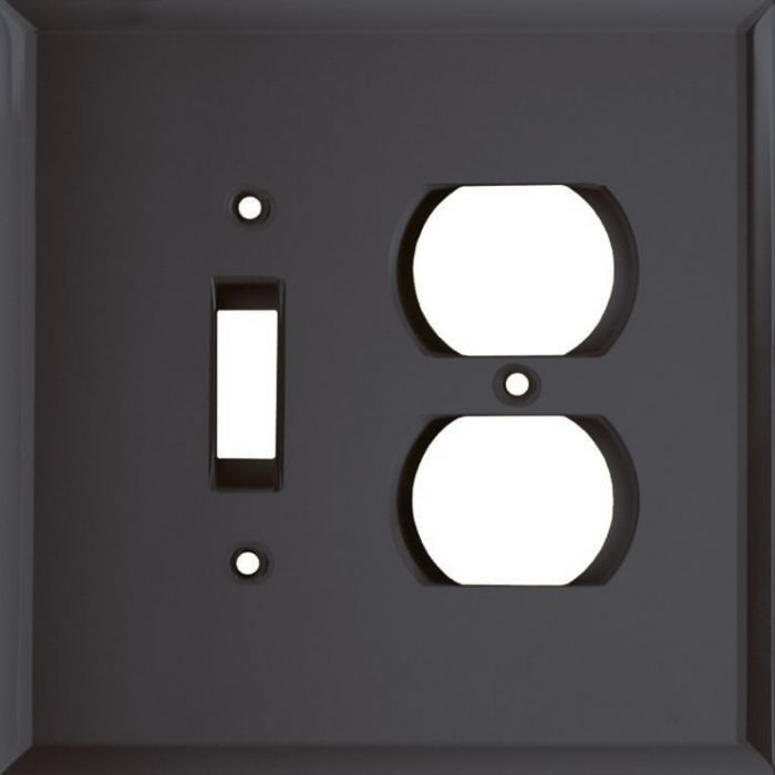 Glass Mirror Smoke Grey Combination 1 Toggle / Outlet Cover Plates