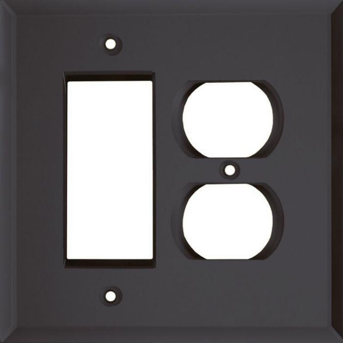 Glass Mirror Smoke Grey Combination GFCI Rocker / Duplex Outlet Wall Plates