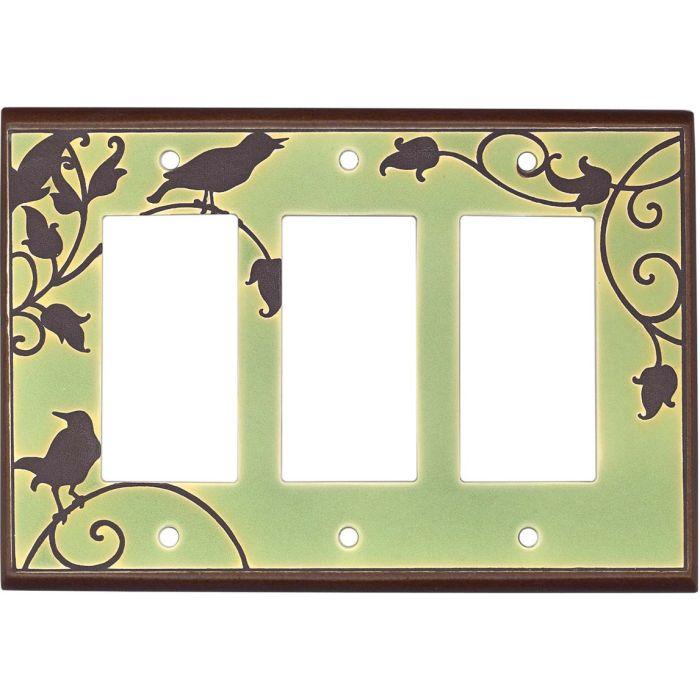 Songbirds Green Ceramic3 - Rocker / GFCI Decora Switch Plate Cover