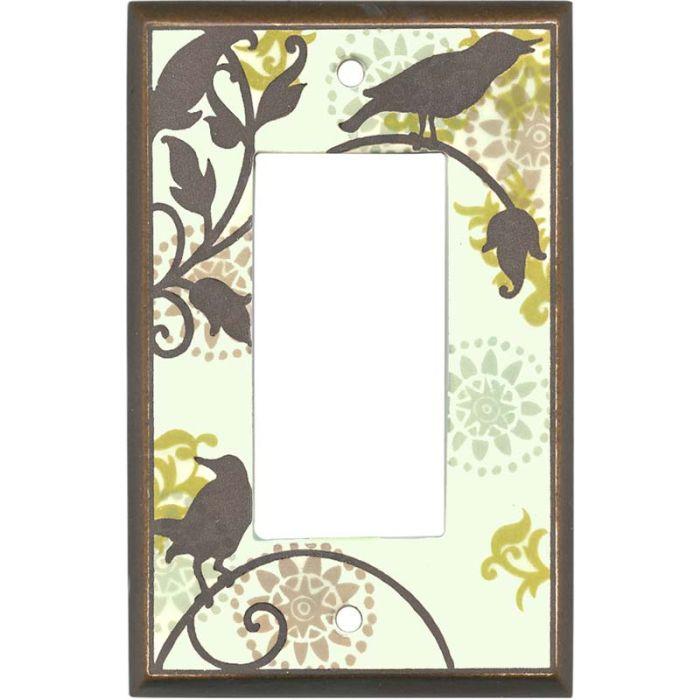 Songbirds Pattern Ceramic1-Gang GFCI Decorator Rocker Switch Plate Cover