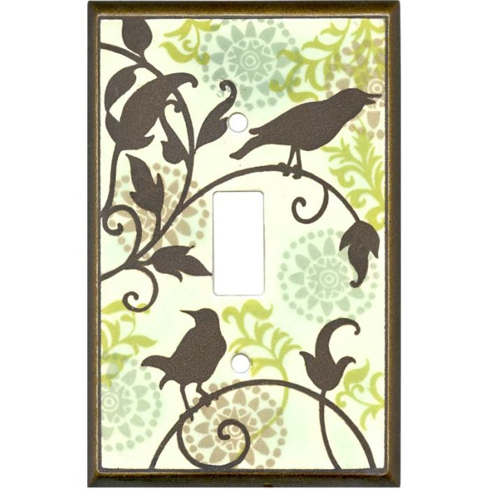 Songbirds Pattern Ceramic1 Toggle Light Switch Cover