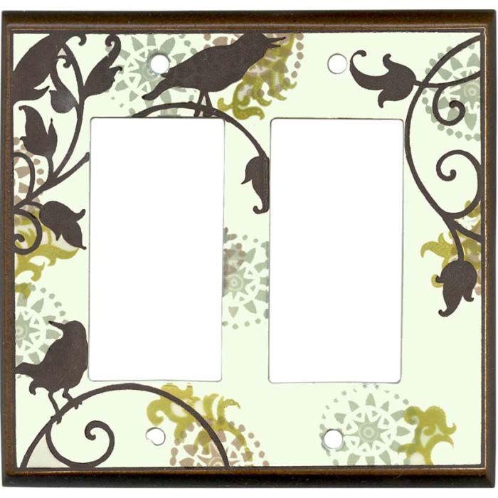 Songbirds Pattern Ceramic2-Gang Decorator / GFCI Rocker Wall Plate Cover