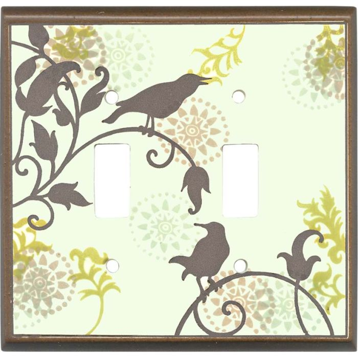 Songbirds Pattern Ceramic2 Toggle Switch Plates