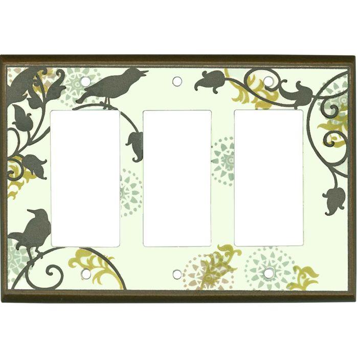 Songbirds Pattern Ceramic3 - Rocker / GFCI Decora Switch Plate Cover