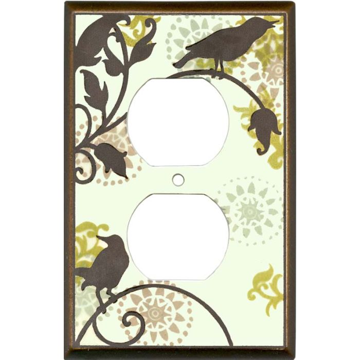 Songbirds Pattern Ceramic1 - Gang Duplex Outlet Cover Wall Plate