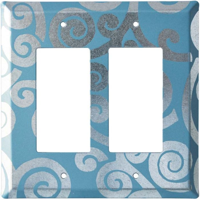 Spirals Chroma 2 Gang Decorator / GFCI Rocker Wall Plate Cover