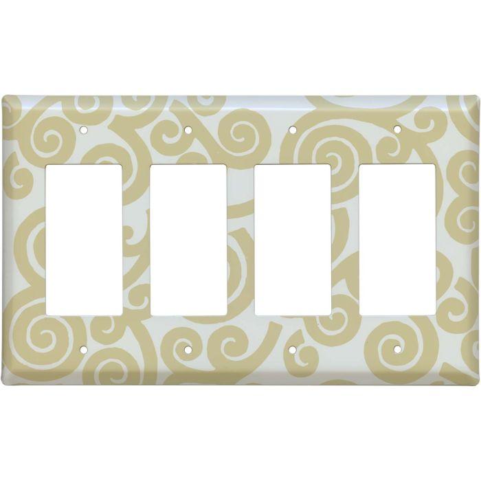 Spirals Latte 4 Rocker GFCI Decorator Switch Plates