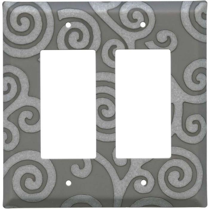Spirals Loft 2 Gang Decorator / GFCI Rocker Wall Plate Cover