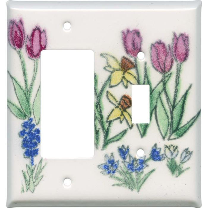 Spring Flowers 1-Gang GFCI Decorator Rocker Switch Plate Cover