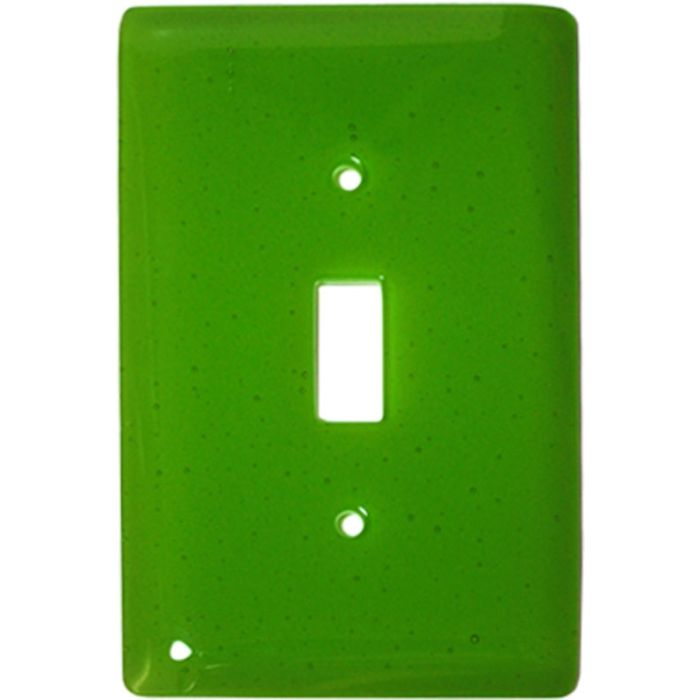Spring Green Transparent Glass Single 1 Toggle Light Switch Plates