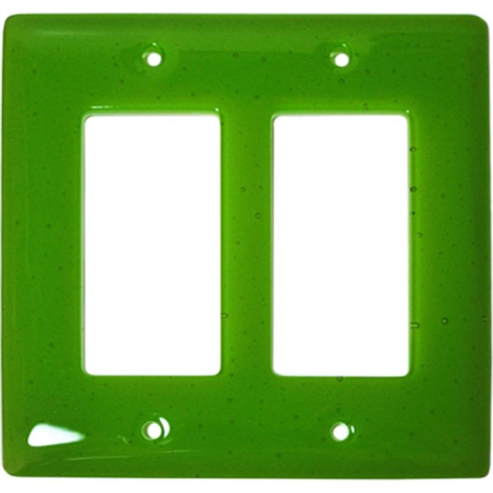 Spring Green Transparent Glass 2 Gang Double GFCI Rocker Decorator Wallplates