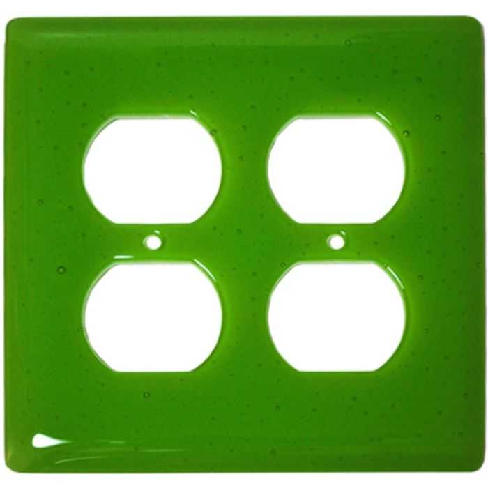 Spring Green Transparent Glass 2 Gang Duplex Outlet Wall Plate Cover