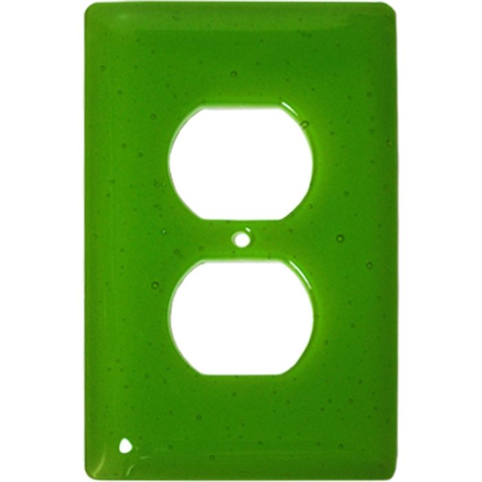 Spring Green Transparent Glass 1 Gang Duplex Outlet Cover Wall Plate